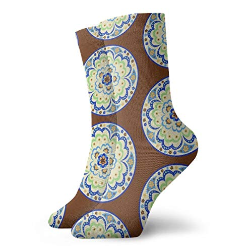 Ye Hua Fun Socks -1960 Mandala; Chocolate_1876 Malerei Kunst gedruckt lustige Neuheit Tier lässig Baumwolle Crew Socken 11.8inch -