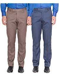 American-Elm Men's Light Brown, Blue Colour Formal Trousers- Pack Of 2