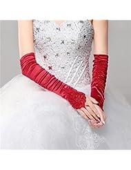 DELLT- Guantes largos de la novia Vestidos de boda Guantes que faltan de la boda Vestidos rojos de la boda Accesorios de la novia Guantes bordados
