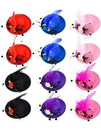 12 Pezzi Ragazza Forcina Mini Cappello Cilindro Fascinator Clip per Capelli  con Fiocco Fiore Finte Piuma a Maglia… c089490c504e