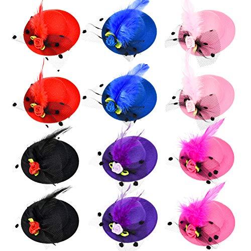 Patelai 12 Stücke Mädchen Haarspange Mini Hut Fascinator Haarspange mit Band Blumen Faux Feder Mesh Bogen Haarspange Haarnadel für Mädchen Kleinkind Kostüm Zubehör, 6 Farben