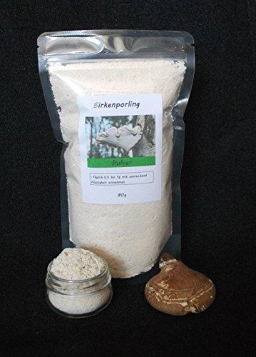 80g Birkenporling Pulver | Vitalpilz Heilpilz | Wild Birch Polypore, Piptoporus betulinus, Fomitopsis betulina, birch bracket, razor strop | Pilz Tee vegan