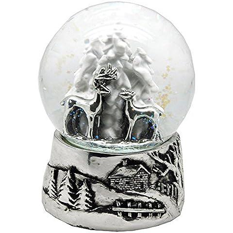 20046 Schneekugelhaus Bola de Nieve Snowglobe Dos Ciervos con Árbol con Caja de Música Diámetro 100mm