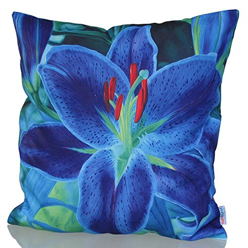 Sunburst Outdoor Living 45cm x 45cm LILY Blue Decorative Throw Pillow Cushion Cover for Couch, Bed, Sofa or Patio - Only Case, No Insert