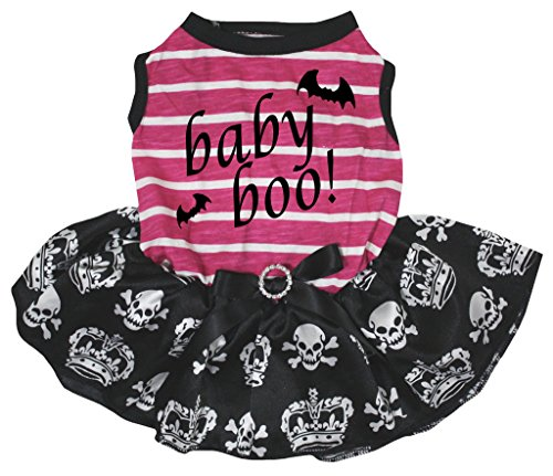 eidung Hund Kleid Baby Boo pink weiß gestreift TOP Totenkopf Tutu (Schädel-baby-kleidung)