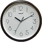 Ajanta (Oreva) Quartz Plastic Round Shape 25 Cm X 25 Cm Fancy Premium Home Decor Wall Clock (D.Wood) For Home And Office