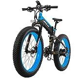 LANKELEISI 26*4.0 Zoll fetter Reifen-faltendes elektrisches Fahrrad Shimano 27 beschleunigen volle Suspendierung Schnee-Gebirgsstrand E-Fahrrad mit Motor 500W, 48V 10Ah Lithium-Batterie, doppelte hydraulische Scheibenbremse (Schwarz-Blau)