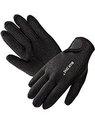Submarinismo, aodio Premium Guantes de neopreno elástico guantes 1.5mm para deportes en el agua buceo segeln Surf Negro, medium