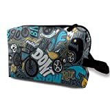 BMX Jumble Alphabet Toiletry Bag Waterproof Fabric Cosmetic Bags Travel Case For Women's Accessories
