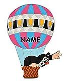Unbekannt Türschild / Wandbild / Wandtattoo - Der kleine Maulwurf incl. Namenswunsch - HOLZ - selbstklebend - Kinderzimmer Bilder Heißluftballon Deko
