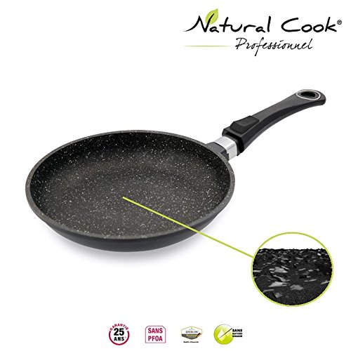 Natural Cook Professionnel - Fry Pan In Nonstick Stonelike Granitelike & Ceramic Coating Cookware With Detachable Handles - Suitable For All Cookers, Even Induction Cookers - 24 cm