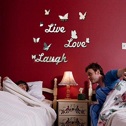 GxNI Rire Vivant d'amour Mur Papillon Miroir Alphabet Stickers muraux Chambre ?Coucher Autocollants Vivant (60 * 90cm)
