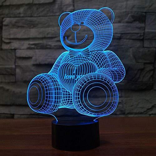 3D Süßer bär Lampe optische Illusion Nachtlicht, 7 Farbwechsel Touch Switch Tisch Schreibtisch Dekoration Lampen perfekte Weihnachtsgeschenk mit Acryl Flat ABS Base USB Spielzeug - Chrome Base Bar Tisch