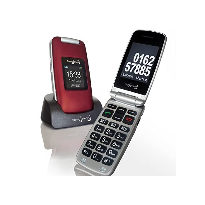 Großtasten Mobiltelefon, Seniorenhandy MB 100 Bordeaux rot, Klapphandy u.a. mit Kamera, Notruftaste, sprechender…