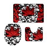 chaqlin 3-teiliges Badezimmer Teppich Matte Set Memory Foam und Contour Teppich-Sets mit Deckel rutschfest Modern Maple Leaf-3