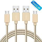 GlobaLink 2 pack 2m Micro USB kabel Nylon, Ladekabel Verbindungskabel Datenkabel, Lebenslange Garantie, für Micro USB Geräte wie für Samsung, Huawei, Sony, HTC, Nokia, Kindle, Android Smartphones usw. (Gold)