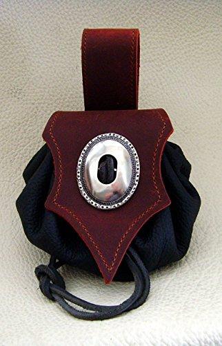 Lederbeutel Dukatenbeutel Geldkatze Farbe rot – schwarz - 4