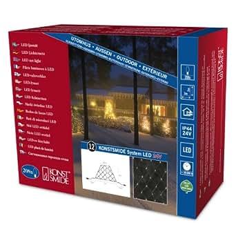 Konstsmide 4623-103 Hightech Système Rallonge Supérieure Filet Lumineux 200 LED Blanc Chaud Transparent