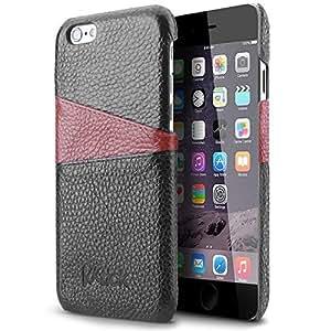 iPhone 6S Custodia, KKtick®4.7''Custodia[Card Slot Series]Slot per schede tasche per carte di credito, [Vera Pelle]di alta qualità in Premium Cassa fatta a mano per iPhone 6 Nero