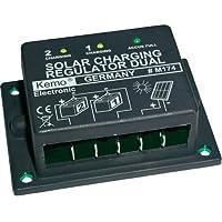 Pequeño regulador de carga para paneles solares y 1o 2baterías, 12V, 16A