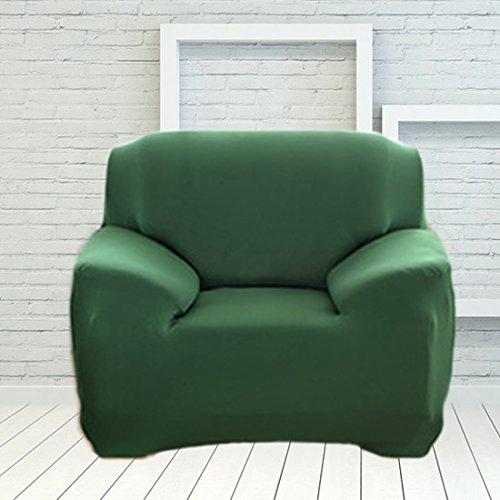 Hisuper 1pc Funda de sofá para sala de estar Abrigo ajustado Todo incluido Funda de sofá antideslizante Sofá elástico Toalla de un asiento - Verde oscuro