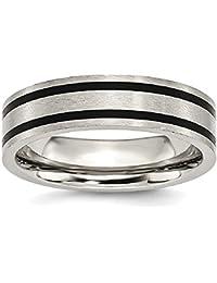 ICE CARATS Titanium Brushed Enameled Flat 6mm Wedding Ring Band Fashion Jewelry Gift Set For Women Heart