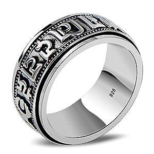 Aienid Ring Herren 925 Runden Ring für Männer