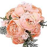 StarLifey Artificial peonía 1 ramo 8 cabezas Flores de seda para decoración del hogar o bodas (Naranjado)