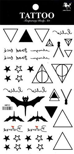 e temporäre Tattoos Unterschiedliche und einzigartige Designs und Totems sehen aus wie echte temporäre Tätowierung Aufkleber einschließlich Sterne, Dreiecke, Fledermäuse, usw. (Fledermaus-make-up)