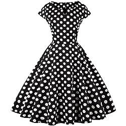 FAIRY COUPLE 1950S Vintage Rockabilly Lunares Cap Mangas Vestido de Baile DRT019(3XL,Puntos Negros)