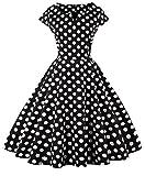 FAIRY COUPLE 1950S Vintage Rockabilly Lunares Cap Mangas Vestido de Baile DRT019(S,Puntos Negros)