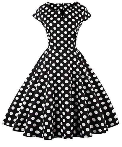 FAIRY COUPLE 1950S Retro Rockabilly Tupfen Kappen Hülsen Abschlussball Kleid DRT019(XL,Schwarze Punkte)