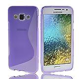 NAUC Schutzhülle für Samsung Galaxy E5 Tasche TPU Case Cover Schutz Hülle Handy Kappe, Farben:Lila