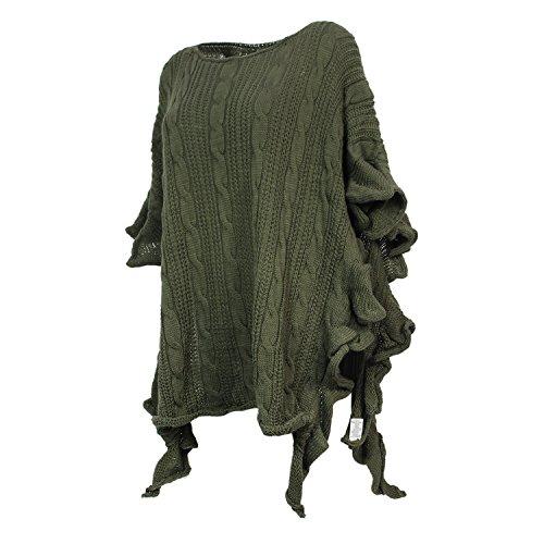 Damen Strick-Poncho Pulli winter Mantel Damen Pullover Top JY-3 PO201601 3a2 Gruen