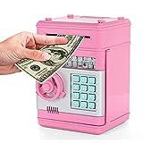 Umiwe Elektronische Spardose, Kinder Kids Code Sparschwein Mini Geldautomat Spardose Münzen Spardose Bank, Spielzeug Geschenke Geburtstag Geschenke (Pink)