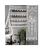 Handbestickte Vorhänge mit Blumenmuster, hergestellt in Italien, 100% Baumwolle, verschiedene Größen, 1 Paar 45x180 Bianco