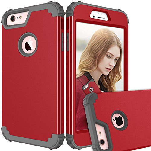 Beimu Handy Schutzhülle für iPhone 6S Plus Fall, Premium Bumper Slim 3 in1 PC + Silikon stoßfest Hybrid High Impact Defender Case Combo Hart Weiche Hüllen für iPhone 6/6S Plus 14 cm Red+Grey Marvel Screen Protector