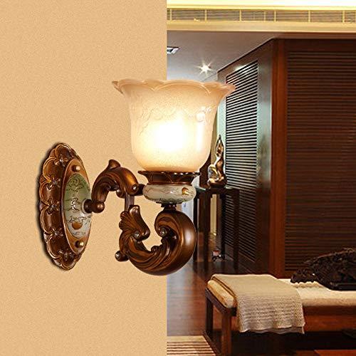 Hell Europäische Wandleuchte Schlafzimmer Nachtwandlampe Pastoralen Gemalte Wandleuchte Hintergrund Wand Ganglampe Amerikanischen Harz Wandleuchte Großhandel Ziemlich (Farbe : Single head)