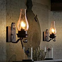 5151BuyWorld Hierro de la vendimia Lámparas de pared Luces de América lámpara transparente con vela de