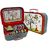 Woodland Animals Kids Tin Tea Set & Carry Case (14 Piece Tea Set for Kids) Red, Blue, Green Tea Set Toy - Slimy Toad