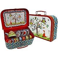 Woodland Animals Kids Tin Tea Set & Carry Case (14 Piece Tea Set for Kids) Red, Blue, Green Tea Set Toy - Slimy Toad