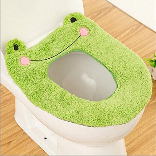 Wc-sitz Wärmer (Timorr WC-Sitz Wärmer Bezug Cute Cartoon Animal Closestool Badezimmer Waschbar Kissen Grüner Frosch)