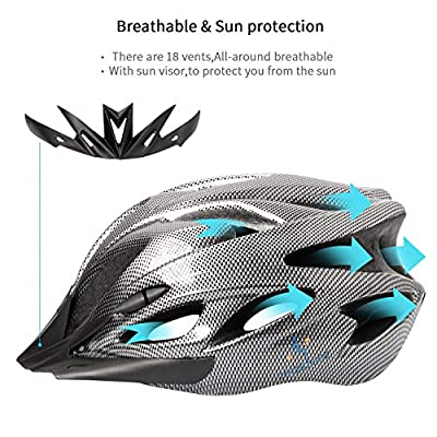 Bike Helmet Adjustable 56-64CM,Free Headband,18 Vents,Cycle Helmet with Visor,Bicycle Helmet Mens Women Ladies Adults Junior Youth for BMX Scooter Skateboard Mountain Road Bike Safety Protection by iOutdoor Products