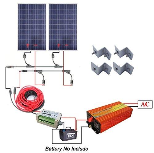 ECO-WORTHY 200 Watt off-grid solare kit: 2PCS 100 W poli pannello solare + 1 KW Pure Sine Wave Inverter + cavo solare + 15A Charge controller + Y MC4 connettore + Z staffe di