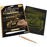 Royal & Langnickel GOLF25 - Engraving Art/Kratzbilder, DIN A4, Nostalgische Rennwagen, gold