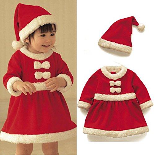 Baby Baumwolle Kinderbekleidung Softshell Weihnachten Strampelhöschen Lange Ärmel Tops + Plüschanzug Hosen + Hut Weich Rot Outfit Set Kostüm, 110cm /2–3Jahre (Glücksbärchi Kostüme Für Kinder)