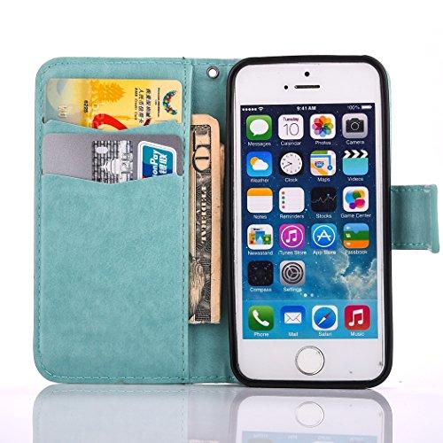Hülle für iPhone SE, Tasche für iPhone 5 5S, Case Cover für iPhone 5 5S SE, ISAKEN Farbig Blank Muster Canvas Leinen Folio PU Leder Flip Cover Brieftasche Geldbörse Wallet Case Ledertasche Handyhülle  Blank Einfarbig Grün
