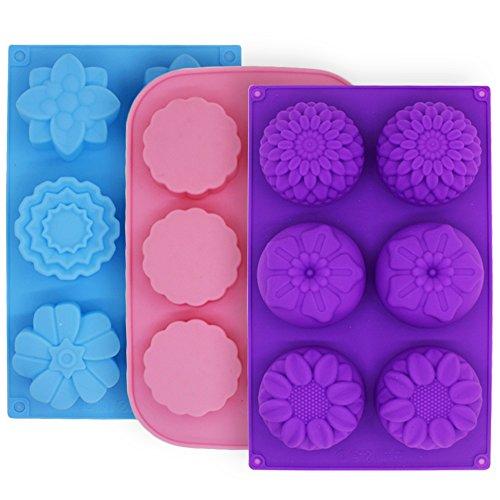 3 pezzi stampi in silicone per muffin cake mooncake, finegood pentole a forma di fiore per fare biscotti al budino di gelatina cioccolatini artigianali in fai-da-te, 6-cavità - viola, blu, rosa