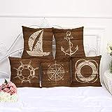 OFVV 5 Pezzi Cuscino Caso Vintage Nautico Windboat Anchor Barca a Vela Lino Divano Cuscino Copertura per la casa Arredamento Divano Auto Cuscino 45 * 45cm