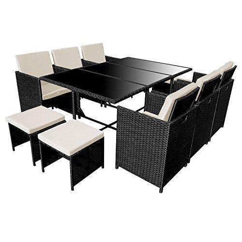 Poly Rattan Essgruppe Rattan Set mit Glastisch Garnitur Gartenmöbel Sitzgruppe Lounge (6 Stühle, Schwarz)